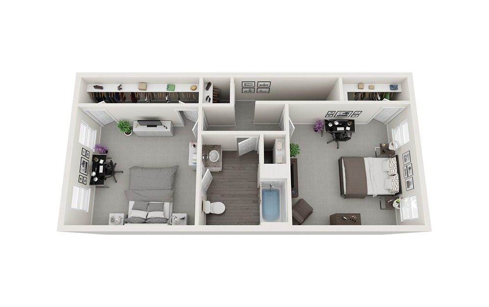 Townhome - Two Story - 2 bedroom floorplan layout with 1.5 bath and 1152 square feet. (Floor 2)