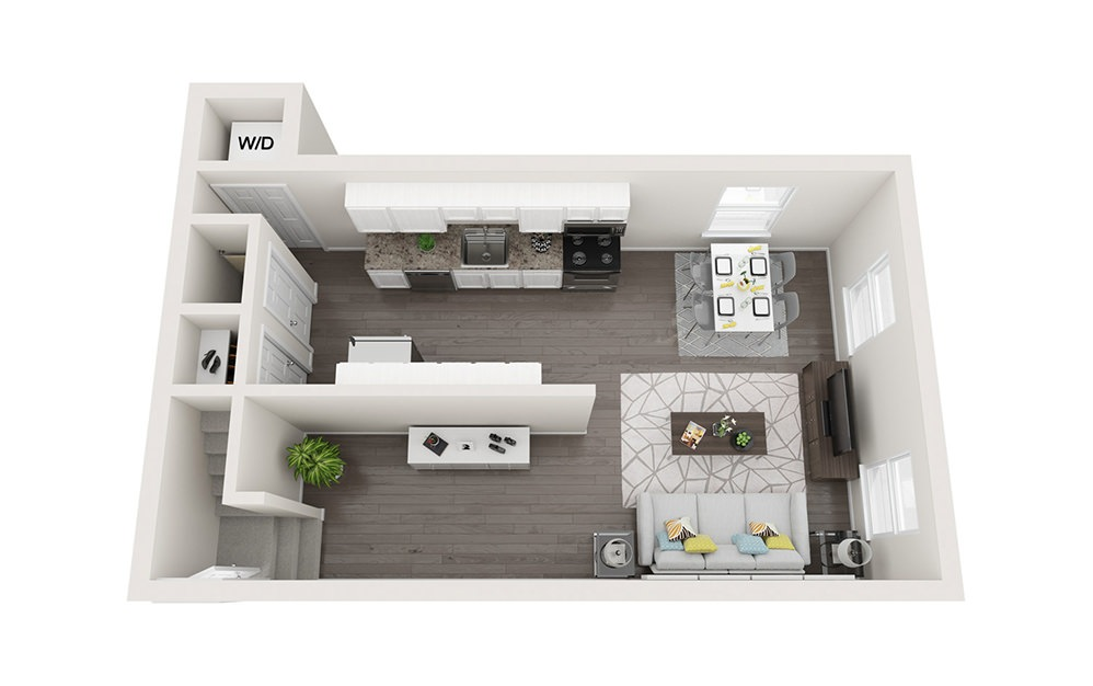 Duplex - Two Story - 3 bedroom floorplan layout with 1.5 bath and 1300 square feet. (Floor 1)