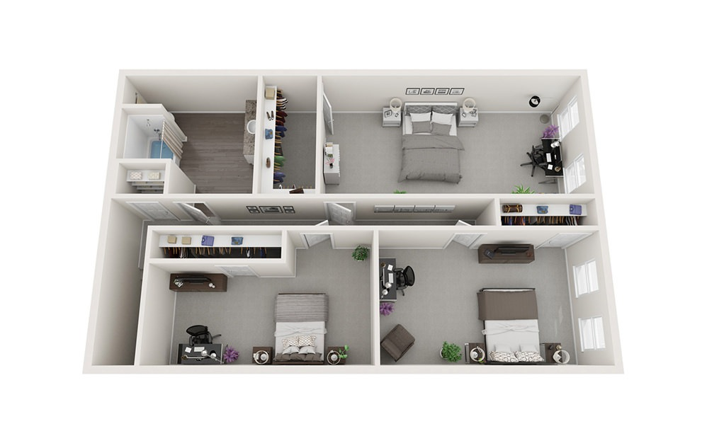 Duplex - Two Story - 3 bedroom floorplan layout with 1.5 bath and 1300 square feet. (Floor 2)
